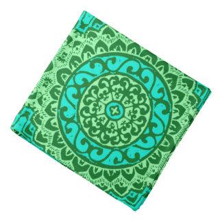 Southwestern Sun Mandala Batik, Lime Green Bandana