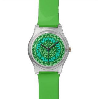 Southwestern Sun Mandala Batik, Lime Green Watch