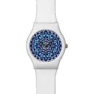 Southwestern Sun Mandala Batik, Navy Blue & White Watch