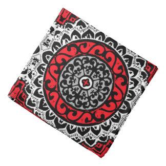 Southwestern Sun Mandala Batik, Red, Black & White Bandana