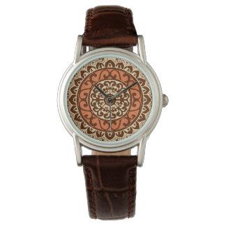 Southwestern Sun Mandala Batik, Rust & Brown Watch