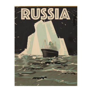 Soviet Russia Arctic Travel Poster Wood Canvases