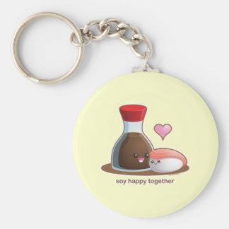 Soy Happy Basic Round Button Key Ring