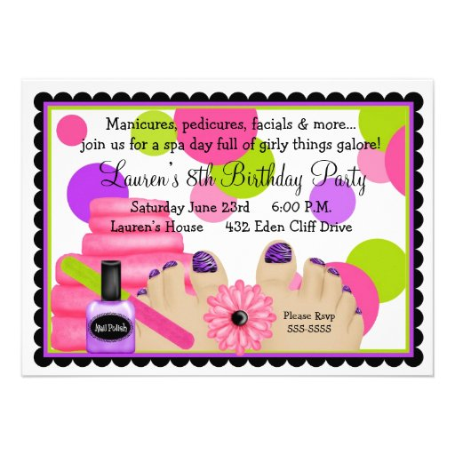 Spa Birthday  party Invitations