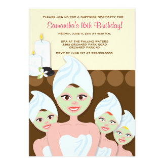 SPA Girls PARTY Birthday or Bridal Shower 5x7 Personalised Invitation