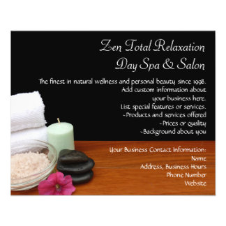 Spa/Massage/Pedicure Salon Scene Black/Color 11.5 Cm X 14 Cm Flyer