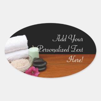 Spa/Massage/Pedicure Salon Scene Black/Color Stickers