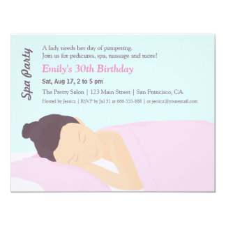 Spa Pampering Girls Birthday Party Invitations