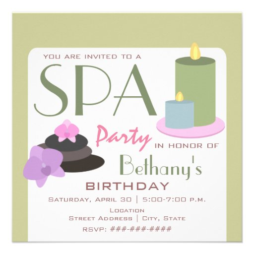 Spa Party Birthday - Candles Orchids and Stones Custom Invitations