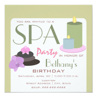 """Spa Party Birthday - Candles Orchids and Stones 5.25"""" Square Invitation Card"""