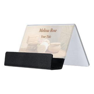 Spa Salon Massage Bar Towels Flowers Desk Business Card Holder