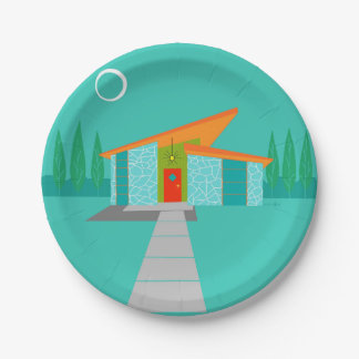 Space Age Cartoon House Paper Plates 7 Inch Paper Plate
