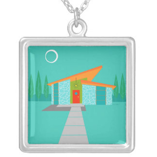 Space Age Cartoon Square Necklace