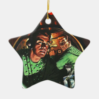 Space Cadets in Small Rocket Christmas Ornament