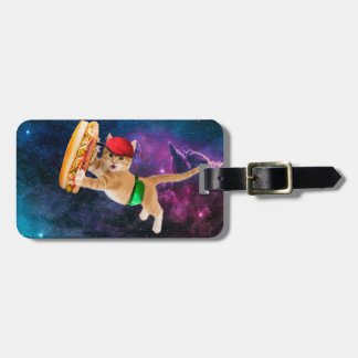Space cat with sandwich and hat luggage tag