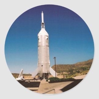 Space Exploration Rocket Classic Round Sticker