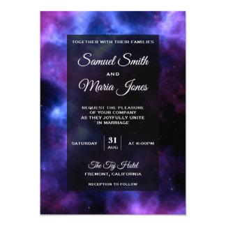 Space Nebula Purple Galaxy Wedding Invitation