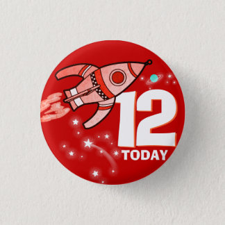 Space rocket red boys age 12 button
