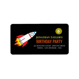 Space Rocket to the Moon Children's Birthday Address Label