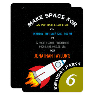 Space Rocket to the Moon Children's Birthday Card