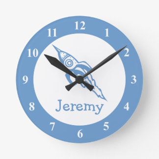 Space rocket wall clock with custom baby name
