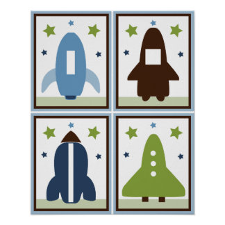 Space Rockets Set of 4 Posters in One!