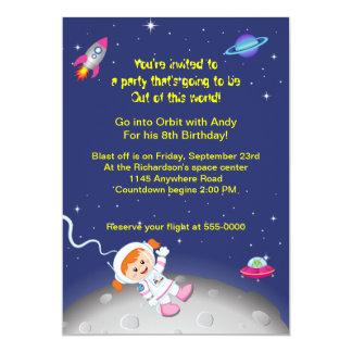 "Space Theme Girls Birthday 5"" X 7"" Invitation Card"