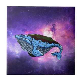 space whale small square tile