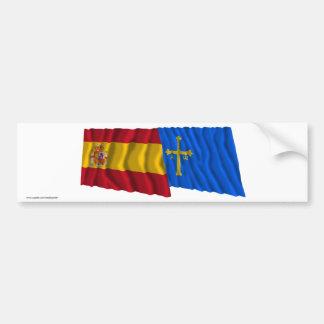 Spain and Asturias waving flags Bumper Sticker