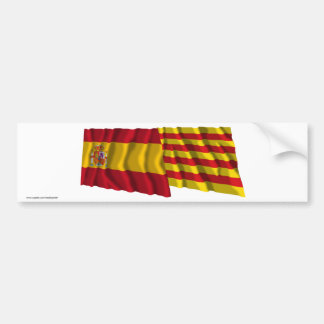 Spain and Cataluña waving flags Bumper Sticker