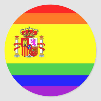 spain country gay proud rainbow flag homosexual classic round sticker