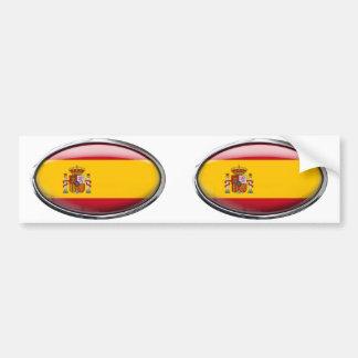 Spain Flag in Glass Oval Bumper Sticker