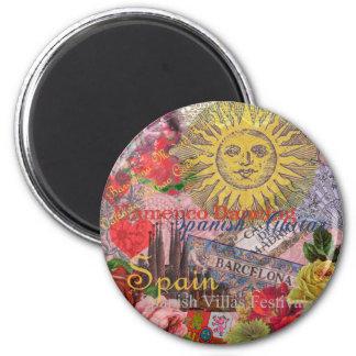 Spain Vintage Trendy Spanish Travel Collage 6 Cm Round Magnet
