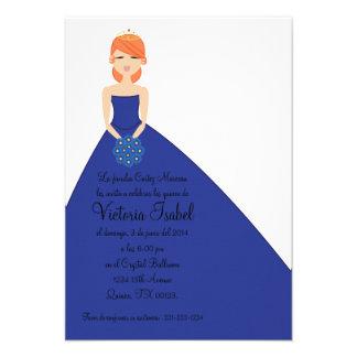 spanish BLUE PRINCESS quinceañera invitation