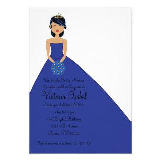 spanish BLUE PRINCESS quinceanera invitation