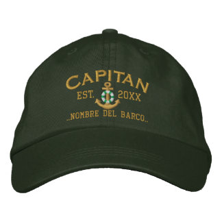 SPANISH Captain Lifesaver Nautical Anchor Name Baseball Cap