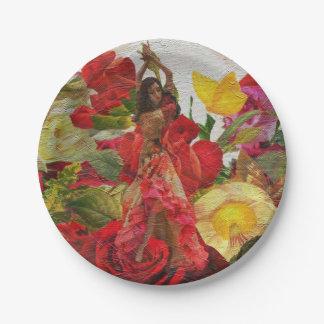 Spanish Dancer Rose Flowers Paper Plate