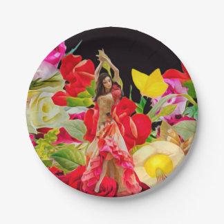 Spanish Dancer Roses Black Background Paper Plate