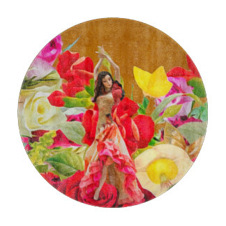 Spanish Dancer Roses Tan Background Cutting Board