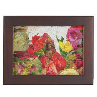Spanish Dancer Roses Textured Keepsake Box