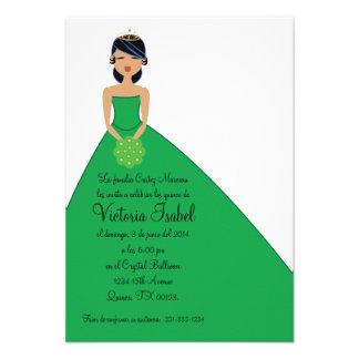 spanish GREEN PRINCESS quinceañera invitation