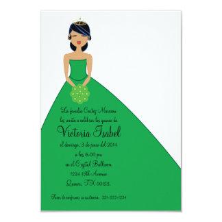 """spanish GREEN PRINCESS quinceañera invitation 3.5"""" X 5"""" Invitation Card"""