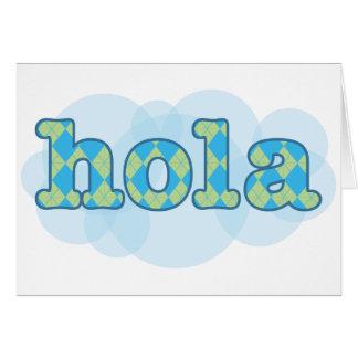 Spanish - Hola with argyle pattern Card