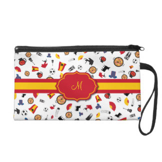 Spanish items with flag to add your monogram wristlet