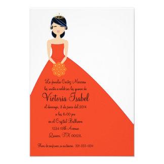 spanish ORANGE PRINCESS quinceañera invitation