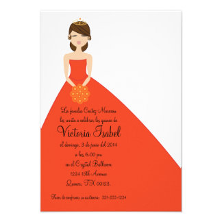 spanish ORANGE PRINESS quinceañera invitation