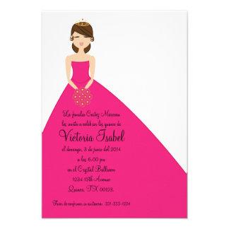 spanish PINK PRINCESS quinceanera invitation