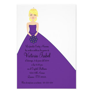 spanish PURPLE PRINCESS quinceañera invitation