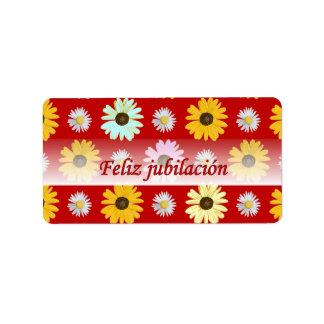 Spanish Retirement Daisies on Red Label Sticker