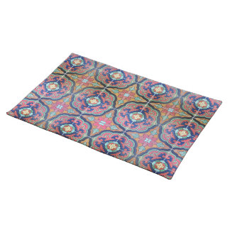 Spanish Tile Floret - Orange and Blue Placemat
